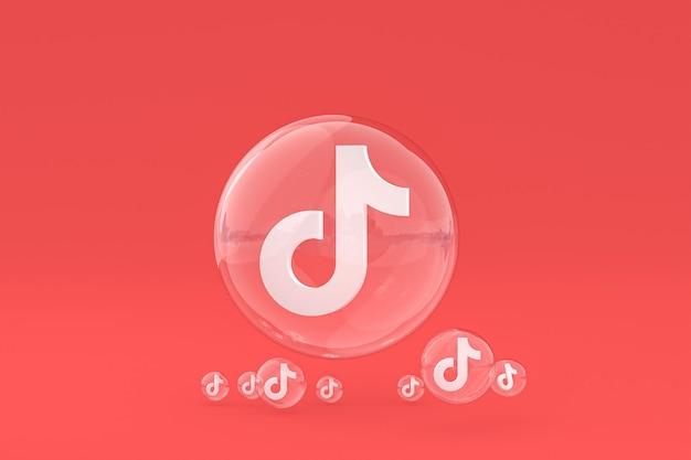 Icône tiktok sur écran smartphone ou téléphone mobile rendu 3d sur fond rouge