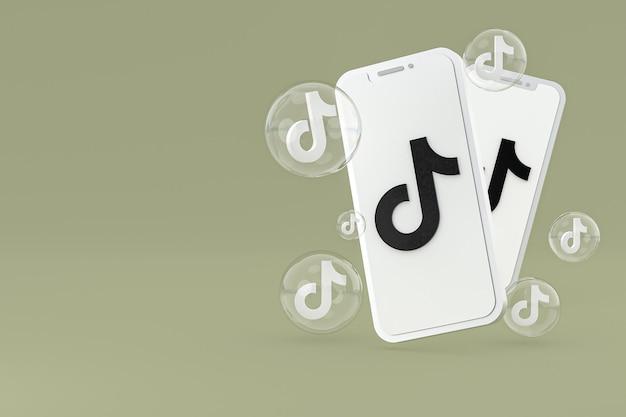 Icône tiktok sur écran smartphone ou téléphone mobile rendu 3d sur fond vert
