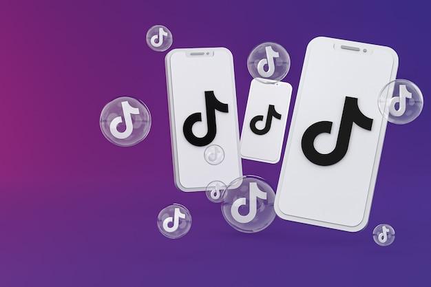 Icône tiktok sur écran smartphone ou téléphone mobile rendu 3d sur fond violet