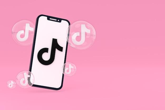 Icône Tiktok Sur écran Smartphone Ou Téléphone Mobile Rendu 3d Photo Premium