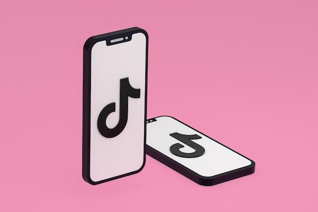 Icône tiktok sur écran smartphone ou téléphone mobile rendu 3d