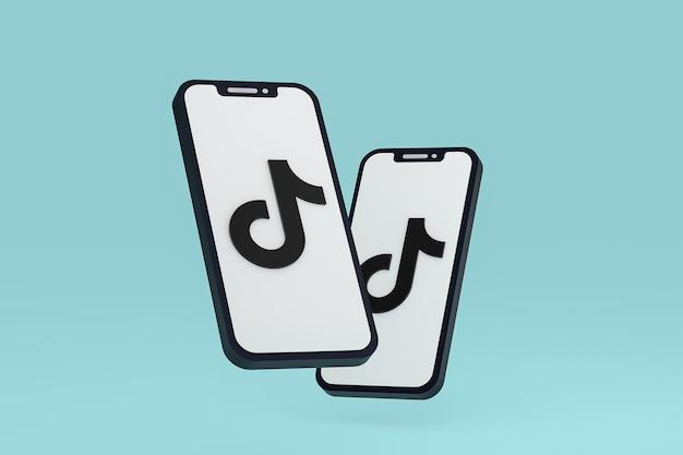 Icône tiktok sur le rendu 3d du smartphone ou du téléphone portable à l'écran
