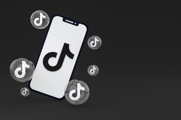 Icône de tiktok sur le rendu 3d du téléphone mobile à l'écran
