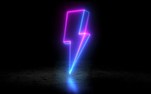 Icône de tonnerre au néon