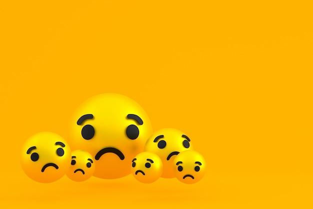 Icône triste réactions facebook emoji rendu 3d, symbole de ballon de médias sociaux sur jaune