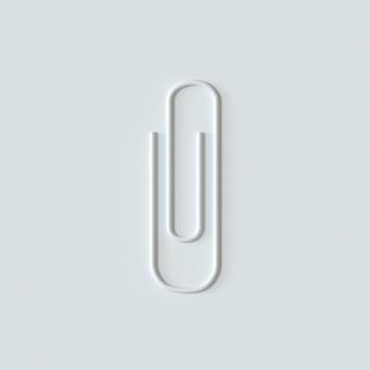 Icône de trombone blanc sur fond blanc trombone silhouette rendu 3d