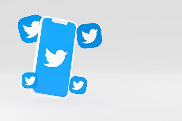 Icône twitter sur l'écran rendu 3d du smartphone