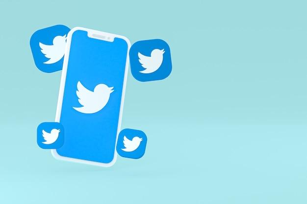 Icône twitter sur le rendu 3d du smartphone à l'écran
