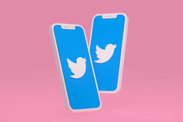 Icône twitter sur smartphone à écran ou rendu 3d mobile