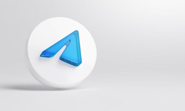 Icône de verre acrylique télégramme sur fond blanc rendu 3d.