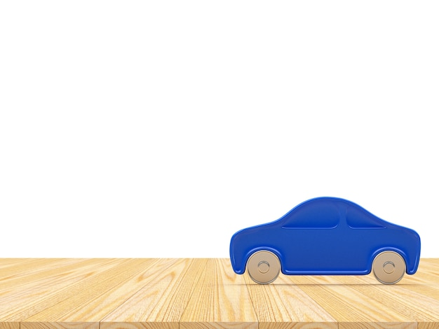 Icône de voiture bleue sur une surface en bois