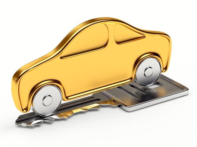 Icône de voiture or sur la clé d'argent