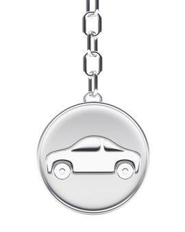Icône de voiture sur porte-clés rond argent