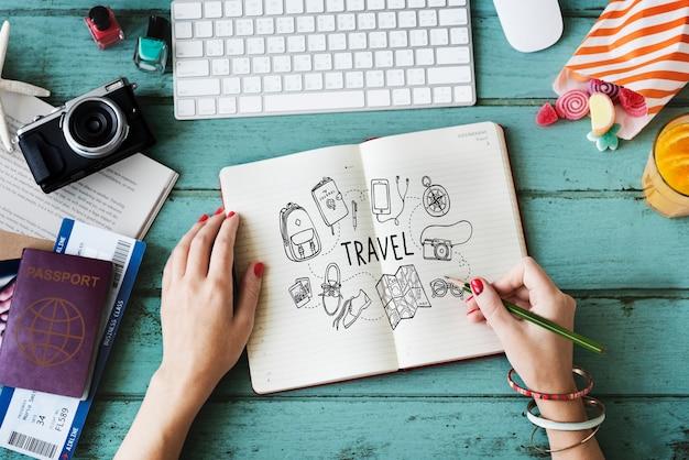 Icône De Voyage De Vacances Concept De Vacances Photo gratuit
