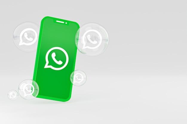 Icône Whatapps Sur écran Smartphone Ou Téléphone Mobile Rendu 3d Sur Fond Gris Photo Premium