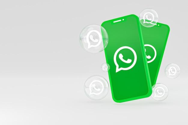 Icône whatapps sur écran smartphone ou téléphone mobile rendu 3d sur fond gris