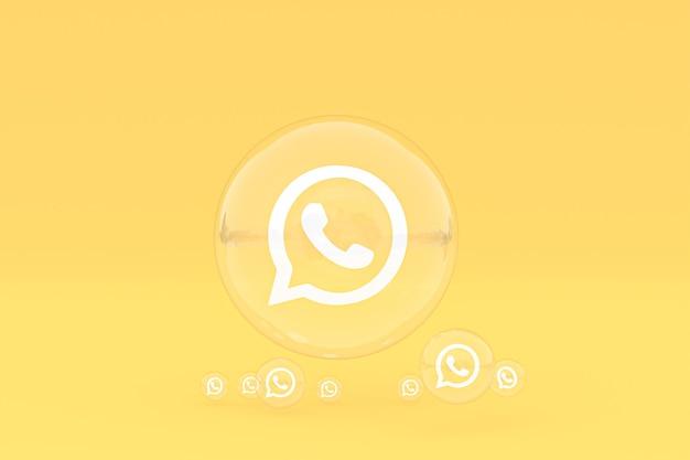 Icône whatapps sur écran smartphone ou téléphone mobile rendu 3d sur fond jaune