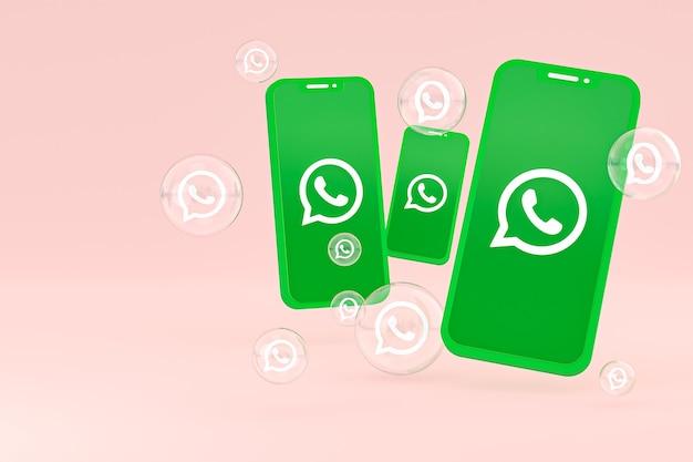 Icône Whatapps Sur écran Smartphone Ou Téléphone Mobile Rendu 3d Sur Fond Rose Photo Premium