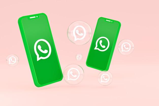 Icône whatapps sur écran smartphone ou téléphone mobile rendu 3d sur fond rose