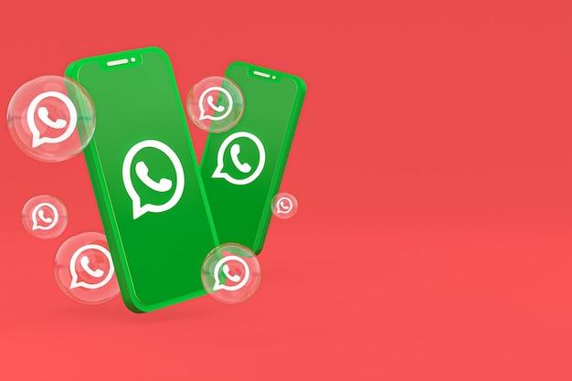Icône Whatapps Sur écran Smartphone Ou Téléphone Mobile Rendu 3d Sur Fond Rouge Photo Premium