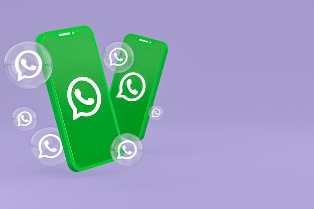 Icône whatapps sur écran smartphone ou téléphone mobile rendu 3d sur fond violet