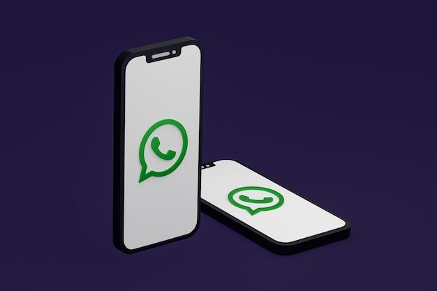 Icône Whatsapp Sur Le Rendu 3d Du Smartphone Ou Du Téléphone Portable à L'écran Photo Premium