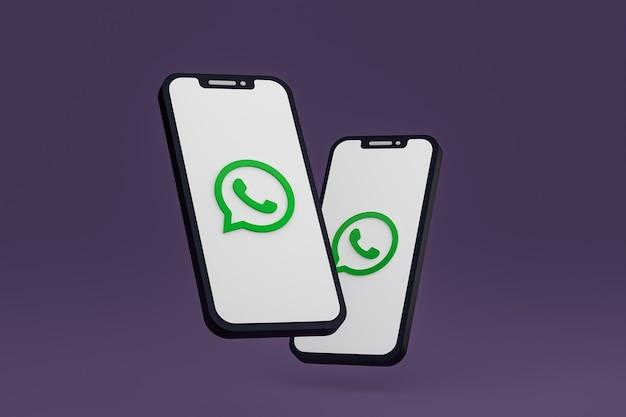 Icône whatsapp sur le rendu 3d du smartphone ou du téléphone portable à l'écran