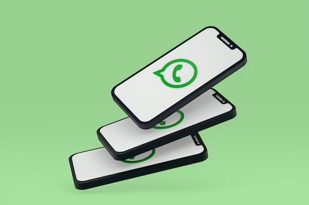 Icône whatsapp sur le rendu 3d des téléphones mobiles à l'écran