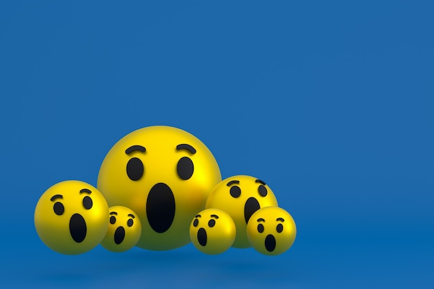 Icône wow facebook réactions emoji rendu 3d, symbole de ballon de médias sociaux sur bleu