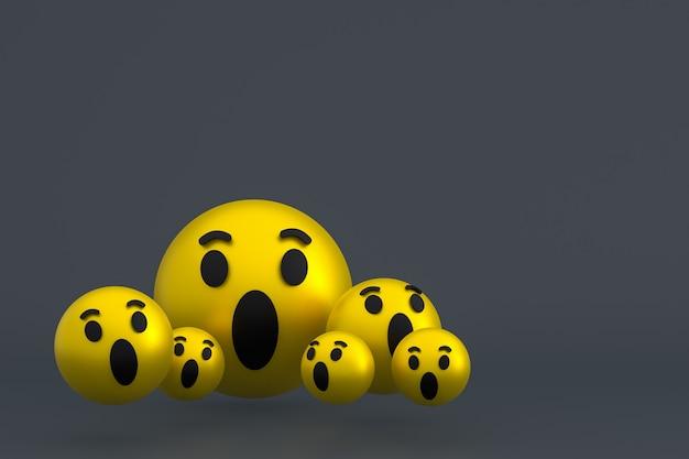 Icône wow facebook réactions emoji rendu 3d, symbole de ballon de médias sociaux sur fond gris