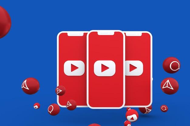 Icône youtube sur écran smartphone ou mobile et appel de réactions youtube avec fond isolé