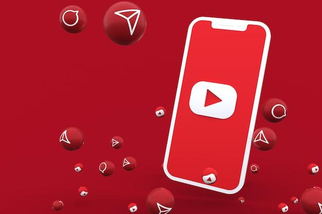 Icône youtube sur écran smartphone ou mobile et appel de réactions youtube avec isolé