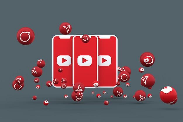 Icône youtube sur écran smartphone ou mobile et appel de réactions youtube isolé