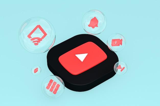 Icône youtube sur écran smartphone ou téléphone mobile rendu 3d sur fond bleu