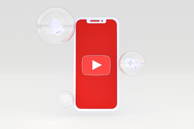 Icône youtube sur écran smartphone ou téléphone mobile rendu 3d sur fond gris