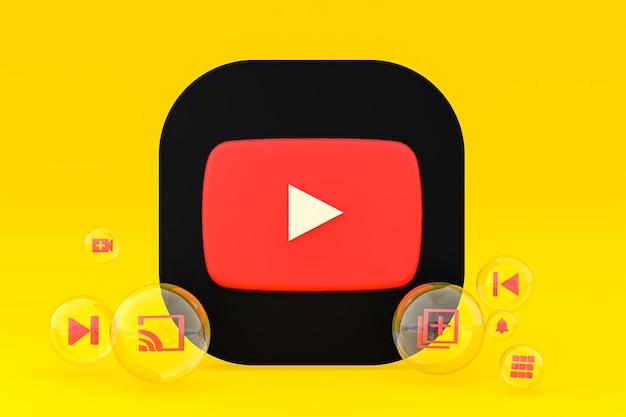 Icône youtube sur écran smartphone ou téléphone mobile rendu 3d sur fond jaune