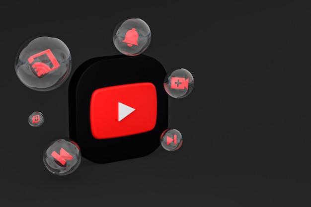 Icône youtube sur écran smartphone ou téléphone mobile rendu 3d sur fond noir