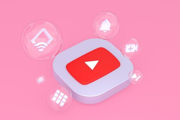 Icône youtube sur écran smartphone ou téléphone mobile rendu 3d sur fond rose