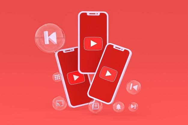 Icône youtube sur écran smartphone ou téléphone mobile rendu 3d sur fond rouge