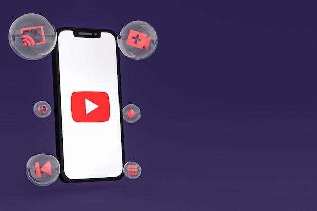 Icône youtube sur écran smartphone ou téléphone mobile rendu 3d sur fond violet