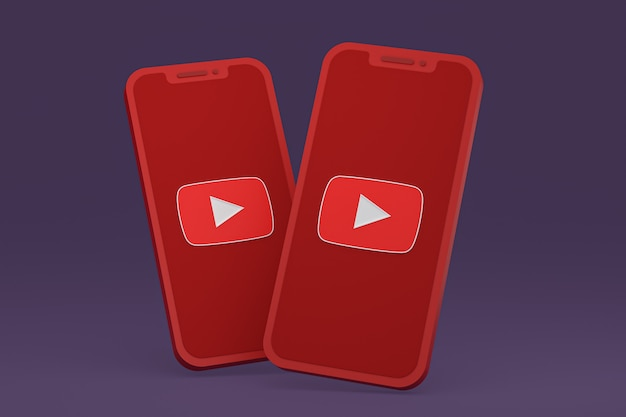 Icône youtube sur le rendu 3d du smartphone ou du téléphone portable à l'écran