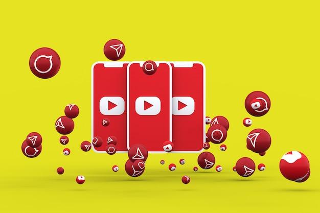 Icône youtube sur smartphone à écran ou mobile et appel de réactions youtube avec fond isolé