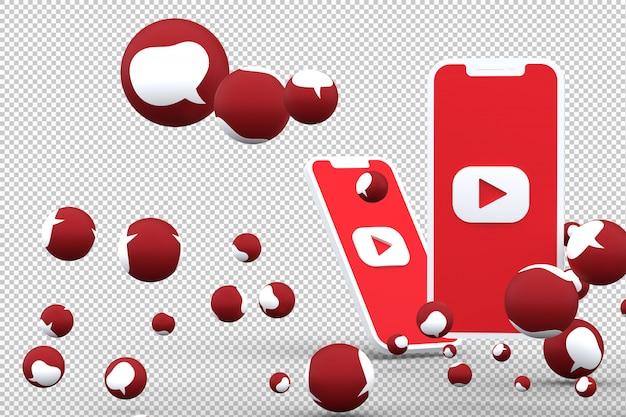 Icône youtube sur smartphone à l'écran et réactions youtube aiment emoji rendu 3d sur fond transparent