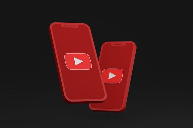 Icône youtube sur les téléphones mobiles à l'écran rendu 3d