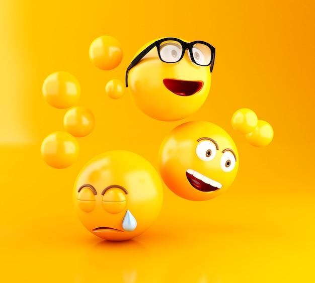 Icônes 3d emojis avec des expressions faciales.