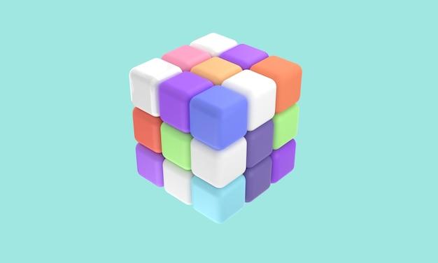 Icônes 3d rubik 3 x 3 avec différentes formes de couleurs