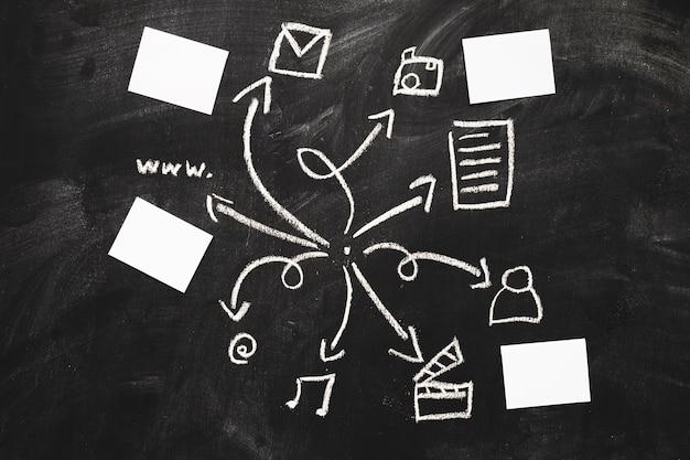 Icônes d'application mobile dessinés à la main avec du papier blanc sur tableau noir