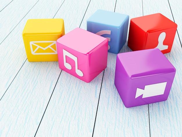 Icônes d'applications 3d colorées.