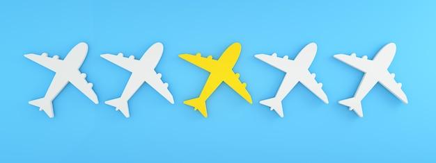 Icônes d'avion, concept de recherche et de sélection de compagnies aériennes, rendu 3d, panoramique