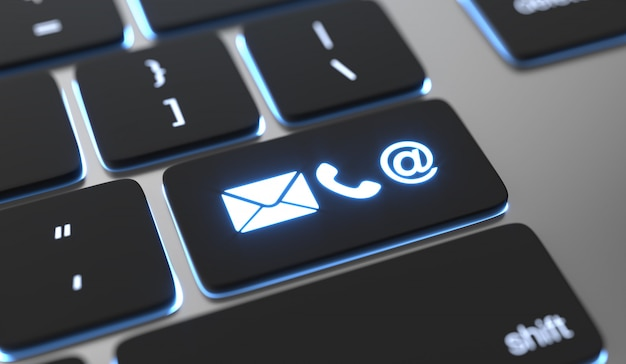 Icônes de contact sur le bouton du clavier. concept de contact en ligne.